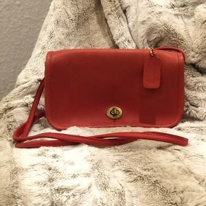 Red leather vintage coach purse